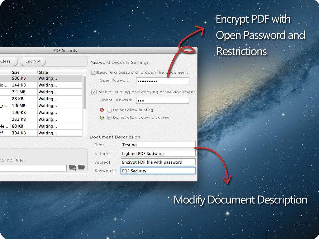 PDF security for Mac screenshot 2