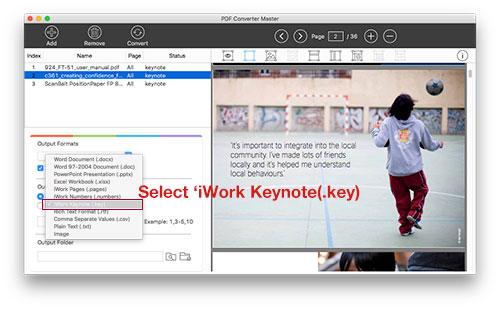 pdf to keynote format selection screenshot