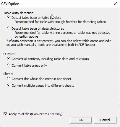 pdf converter ocr csv option screenshot