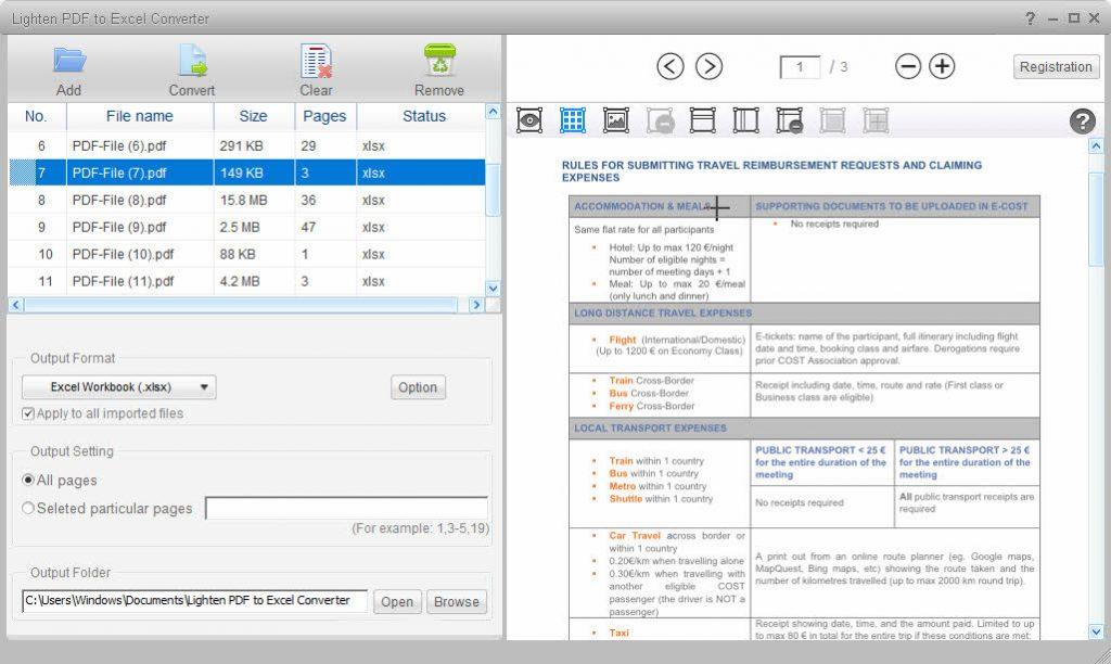 pdf to excel windows sceenshot