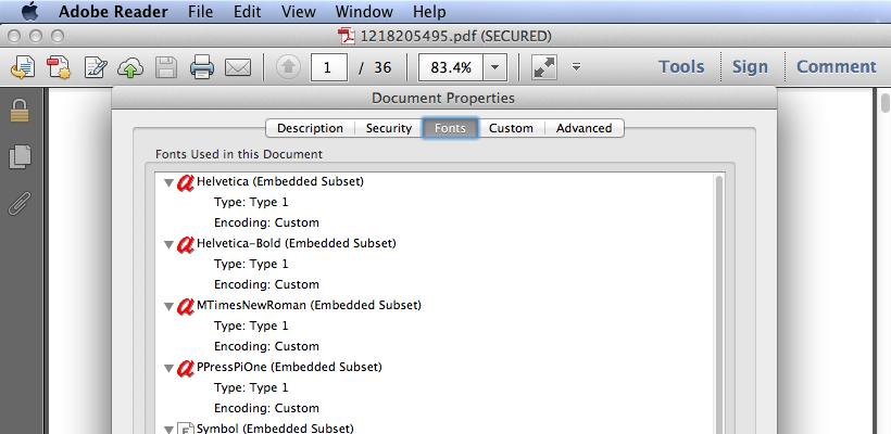 Non-scanned PDF font data