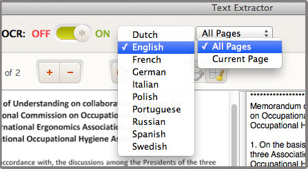 text extractor select language